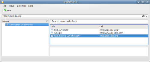 First screenshot of the very simple Bookmarks Editor